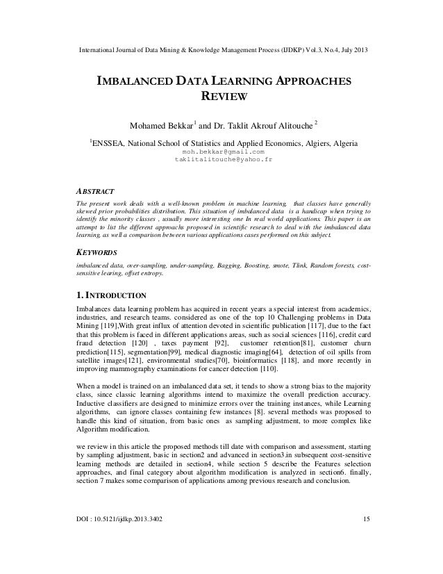 IMBALANCED DATA LEARNING APPROACHES REVIEW