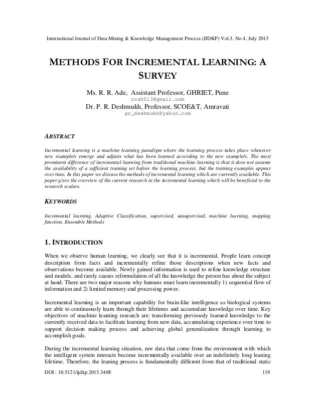 METHODS FOR INCREMENTAL LEARNING: A SURVEY
