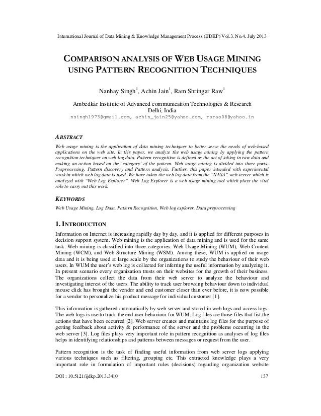 COMPARISON ANALYSIS OF WEB USAGE MINING USING PATTERN RECOGNITION TECHNIQUES