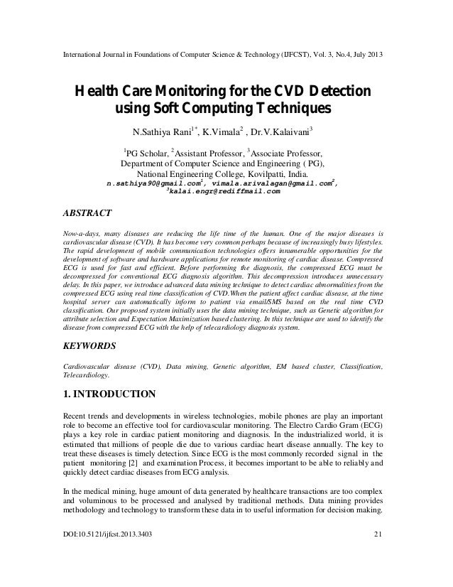 Health Care Monitoring for the CVD Detection using Soft Computing Techniques