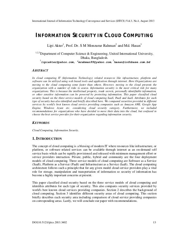 INFORMATION SECURITY IN CLOUD COMPUTING