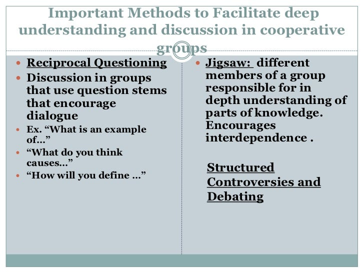 Important Methods to Facilitate deepunderstanding and discussion in cooperative                 groups Reciprocal Questio...