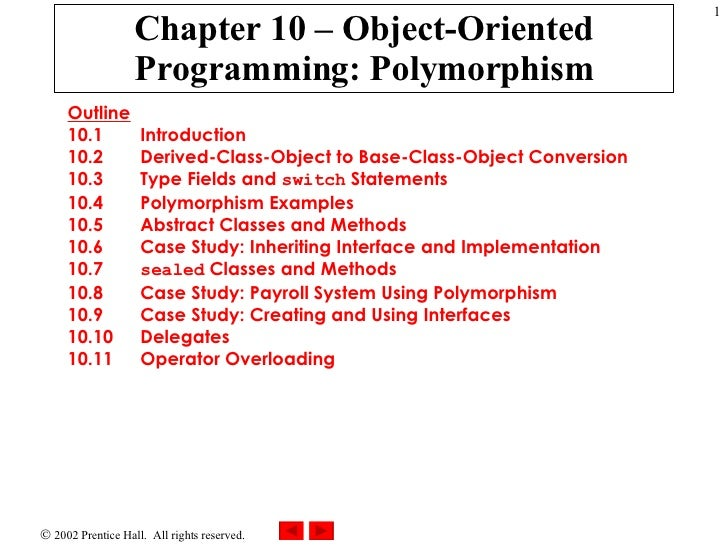 Chapter 10 – Object-Oriented Programming: Polymorphism Outline 10.1  Introduction 10.2  Derived-Class-Object to Base-Class...