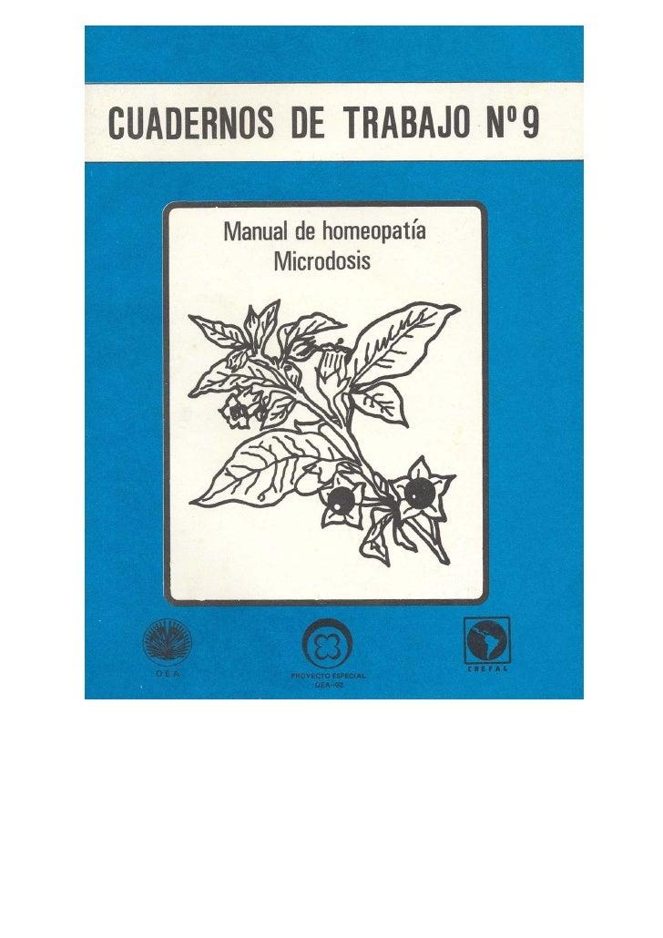 CUADERNOS DE TRABAJO Nº 9           Manual de homeopatía           Microdosis