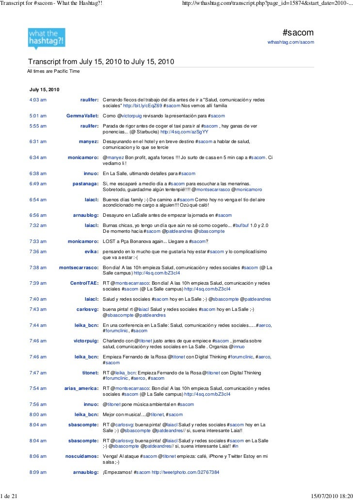 Transcript for #sacom - What the Hashtag?!                                              http://wthashtag.com/transcript.ph...