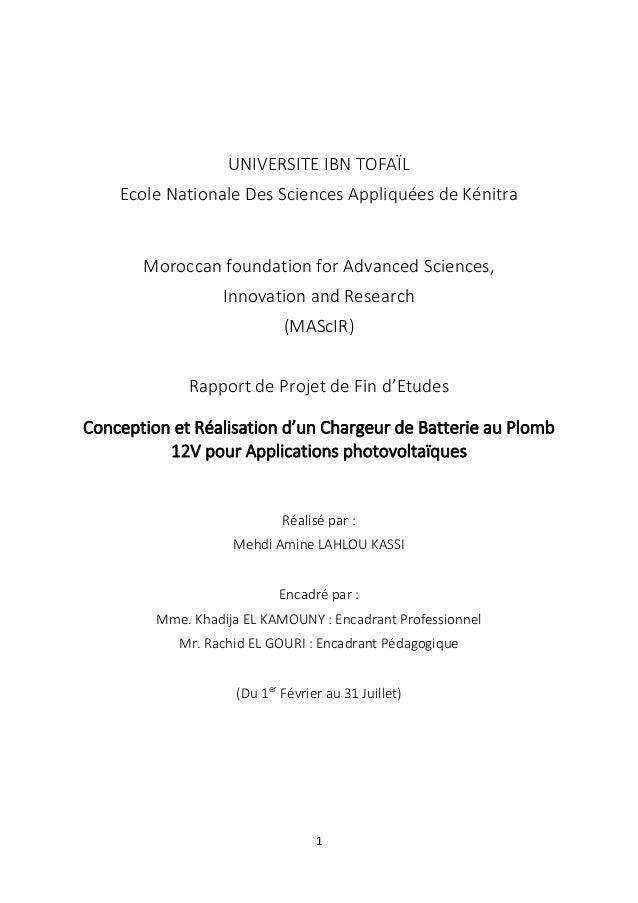 1 UNIVERSITE IBN TOFAÏL Ecole Nationale Des Sciences Appliquées de Kénitra Moroccan foundation for Advanced Sciences, Inno...