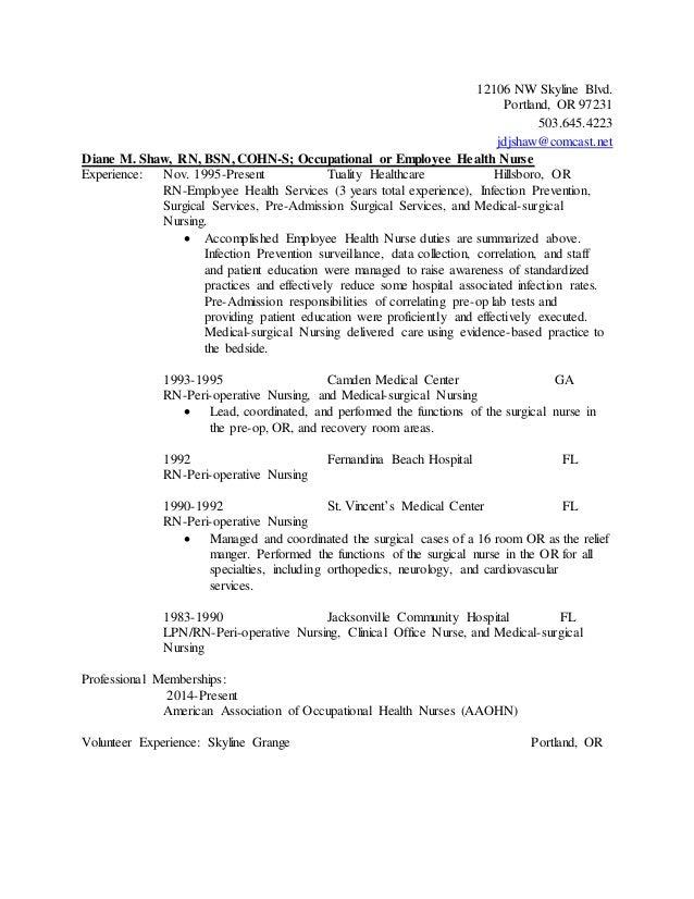 Sample occupational health nurse resume