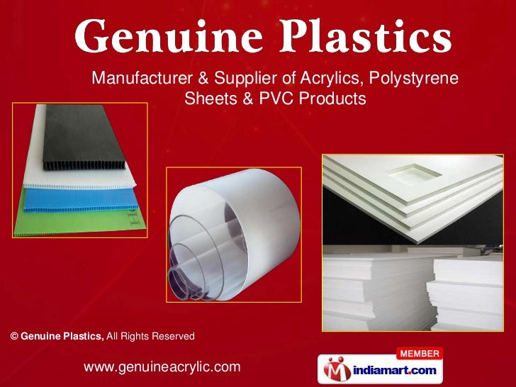 Manufacturer & Supplier of Acrylics, Polystyrene                            Sheets & PVC Products© Genuine Plastics, All R...