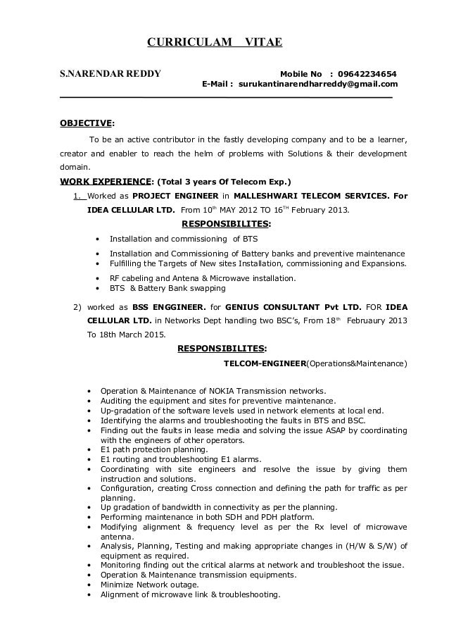 surukanti narendar reddy telecom project manager resume 1