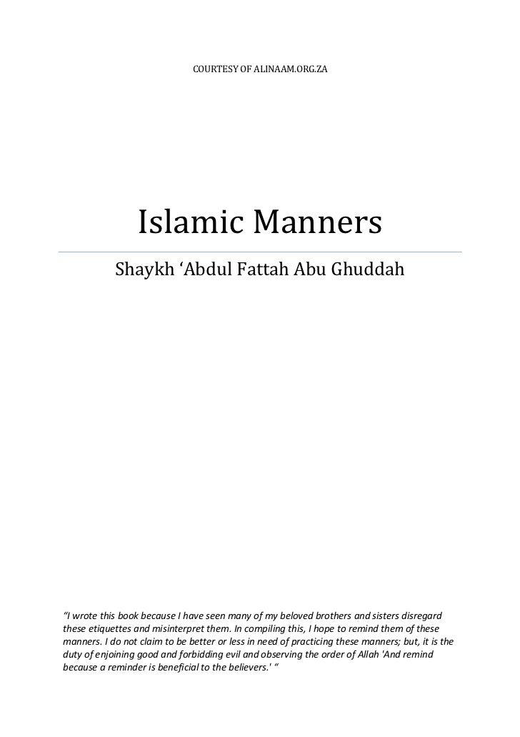Islamic Manners by Shaykh abdul Fattah abu Ghuddah