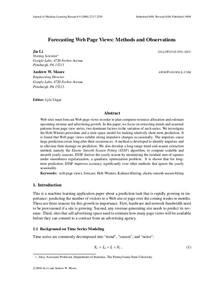 Forecasting Web Page Views:methods and observations