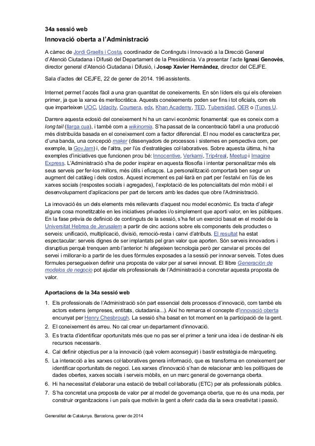 34a sessió web: 'Innovació oberta a l'Administració', amb Jordi Graells