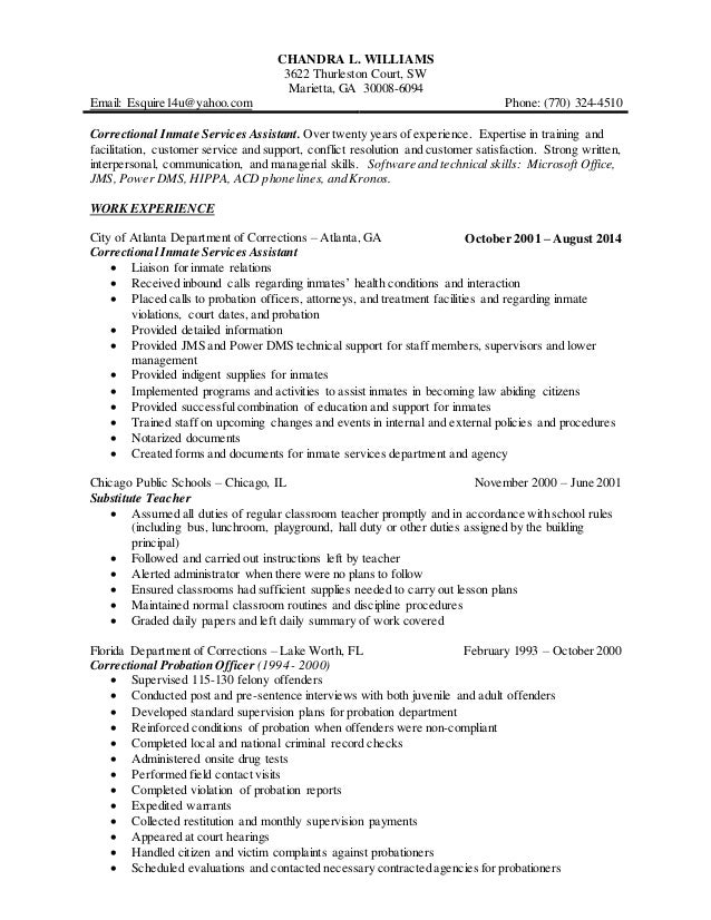 Resume Templates: Juvenile Correctional Officer