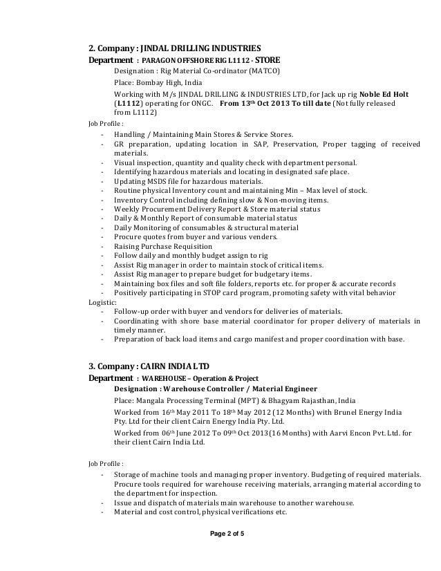 Drilling rig resume