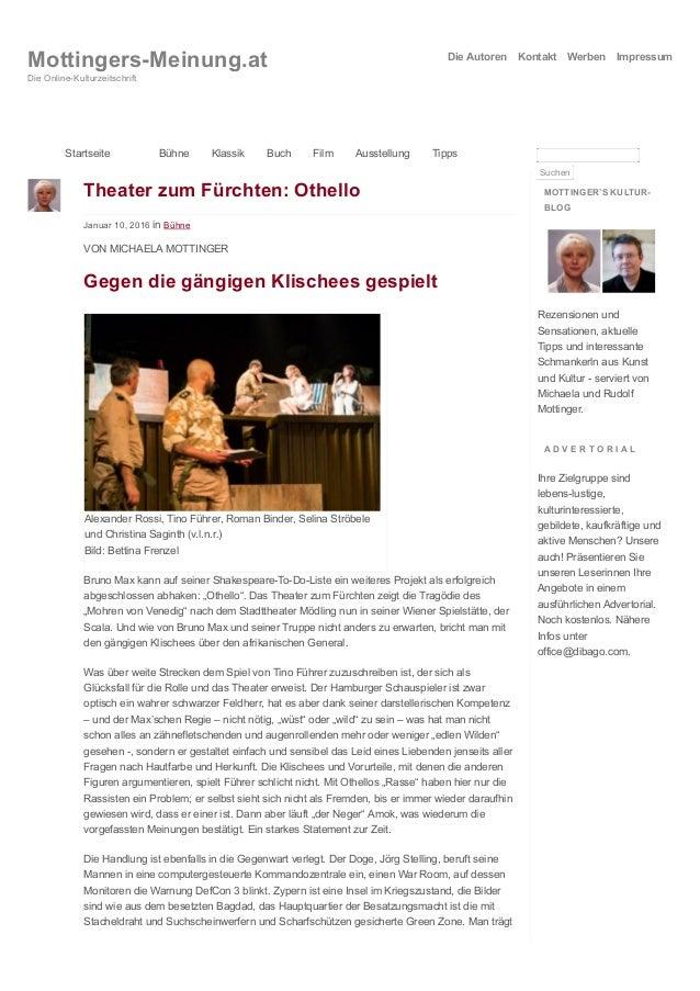 Theater zum Fürchten: Othello Januar 10, 2016 in Bühne VON MICHAELA MOTTINGER Gegen die gängigen Klischees gespielt Alexan...