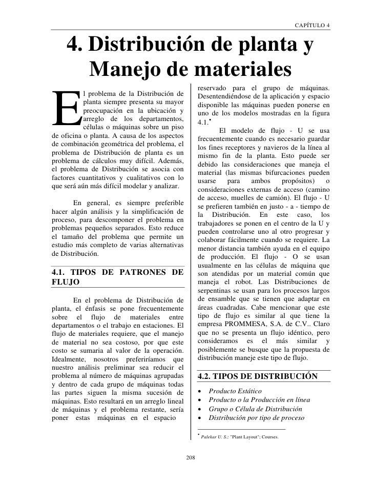 CAPÍTULO 4     4. Distribución de planta y        Manejo de materiales                                                    ...