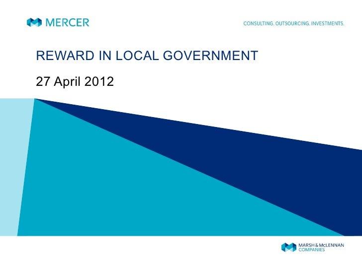 Daniel Hibbert - Reward in Local Government - PPMA Seminar April 2012
