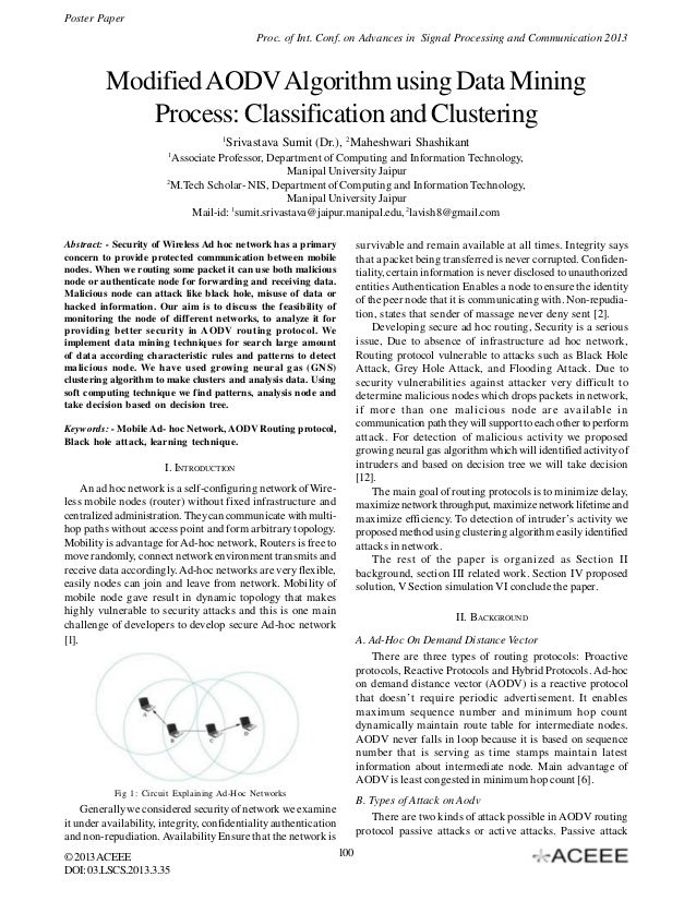 Modified AODV Algorithm using Data Mining Process: Classification and Clustering