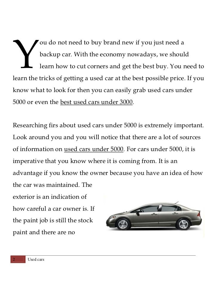 Essay on buying a new car