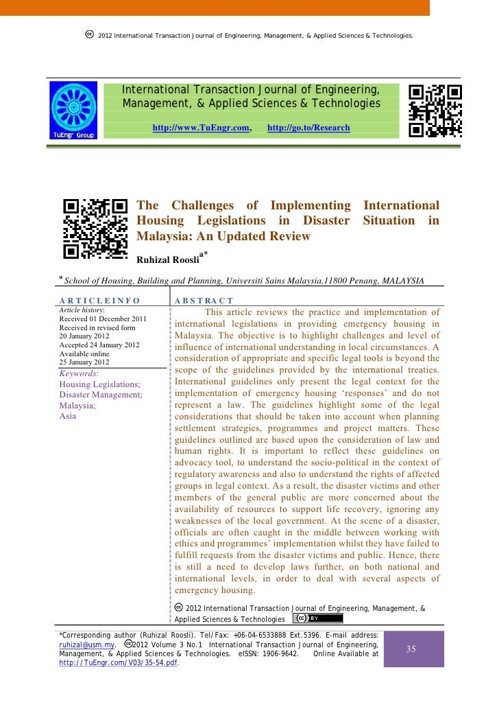 The Challenges of Implementing International Housing Legislations in Disaster Situation in Malaysia: An Updated Review