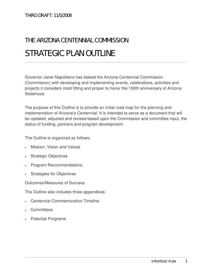 THIRD DRAFT: 11/5/2008     THE ARIZONA CENTENNIAL COMMISSION  STRATEGIC PLAN OUTLINE _____________________________________...
