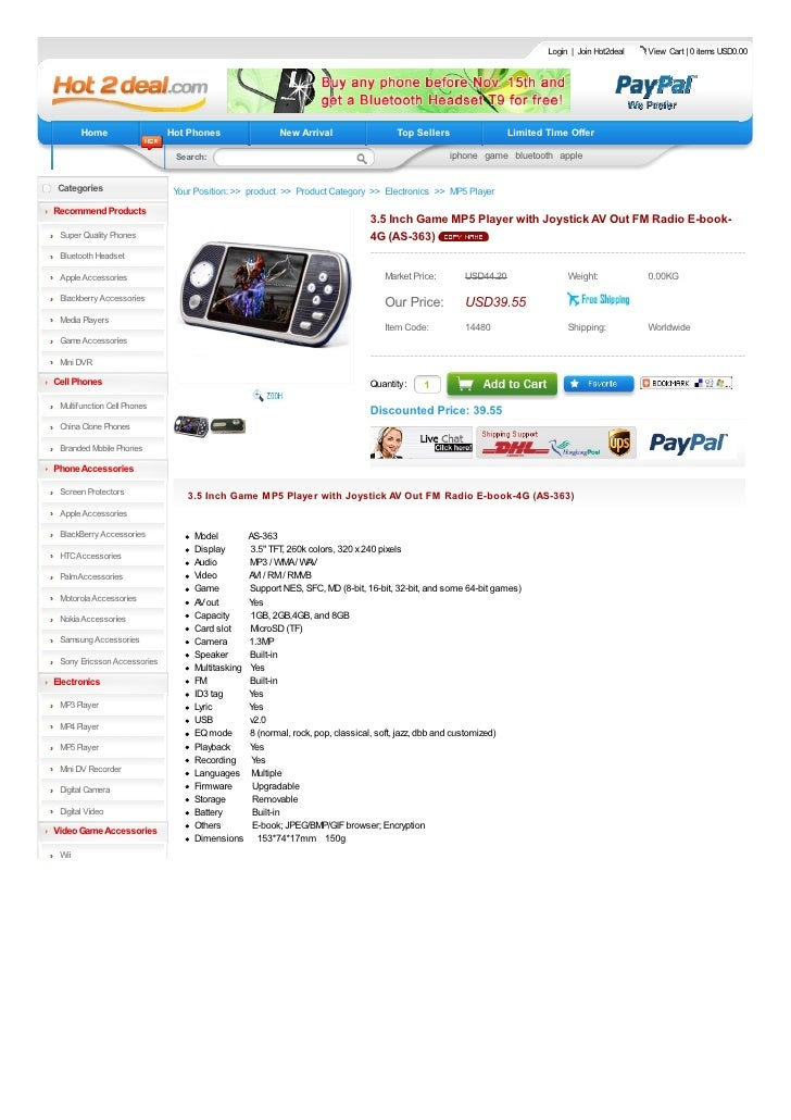3.5 inch game mp5 player with joystick av out fm radio e-book 4g (as 363)