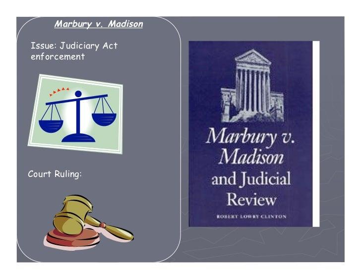 Marbury v. MadisonIssue: Judiciary ActenforcementCourt Ruling: