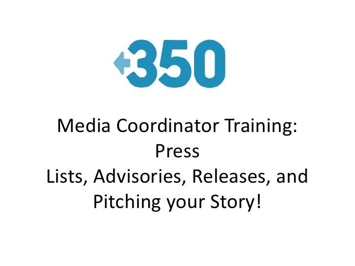 350.org media coordinator training