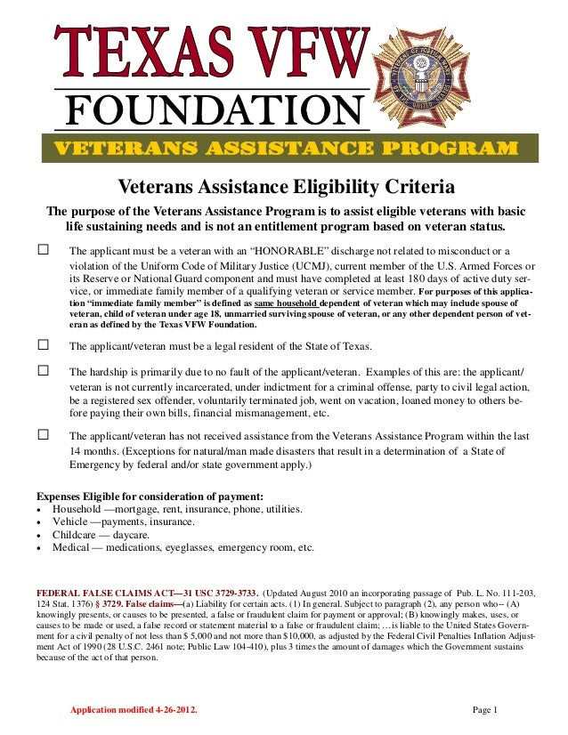 Application modified 4-26-2012. Page 1 Veterans Assistance Eligibility Criteria The purpose of the Veterans Assistance Pro...