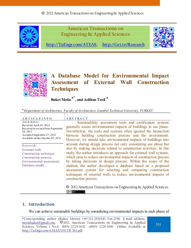 A Database Model for Environmental Impact Assessment of External Wall Construction Techniques