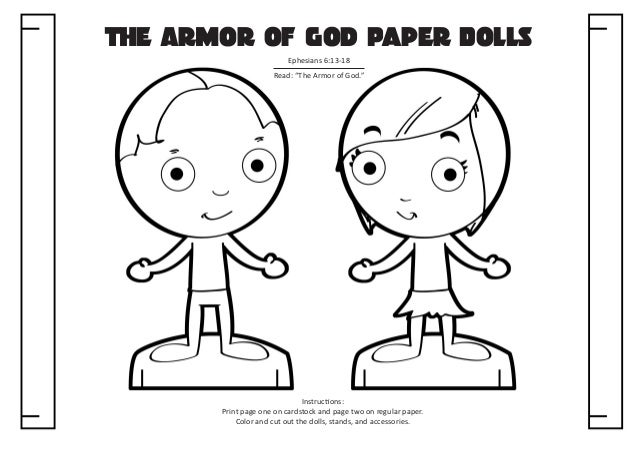 The armor of God paper dolls