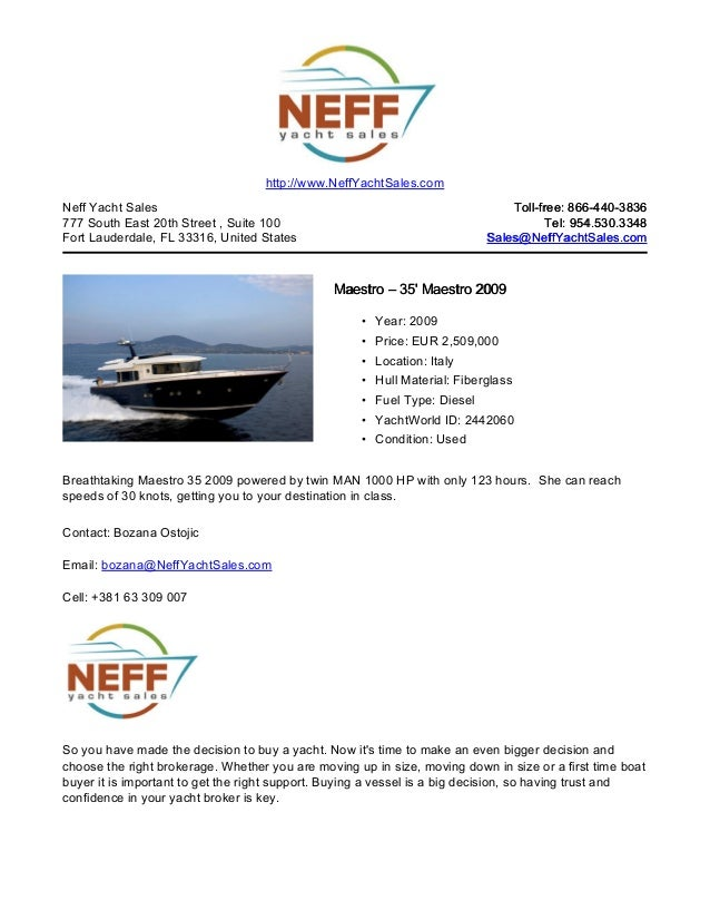 35' 2009 maestro for sale   neff yacht sales