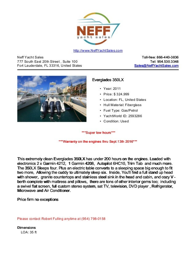 35' 2011 everglades 350 lx for sale   neff yacht sales