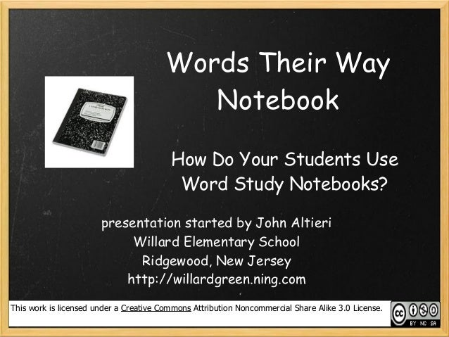Words Their Way Notebook Collaboration