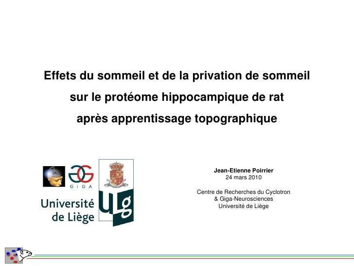 Effets du sommeil et de la privation de sommeil     sur le protéome hippocampique de rat      après apprentissage topograp...