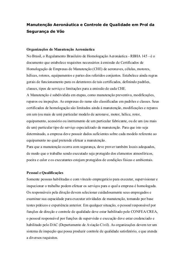 Manutenção Aeronáutica e Controle de Qualidade em Prol da Segurança de Vôo Organizações de Manutenção Aeronáutica No Brasi...
