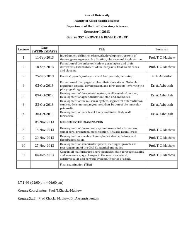 Kuwait University Faculty of Allied Health Sciences Department of Medical Laboratory Sciences Semester I, 2013 Course 357 ...