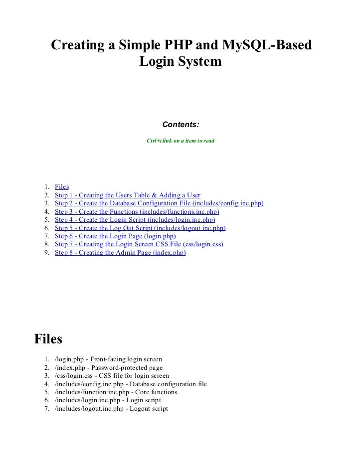 Creating a Simple PHP and MySQL-Based                     Login System                                                Cont...