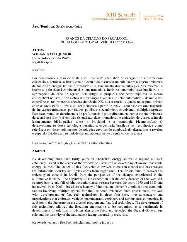 Área Temática: Gestão tecnológica                       35 ANOS DA CRIAÇÃO DO PROÁLCOOL:                     DO ÁLCOOL-MOT...