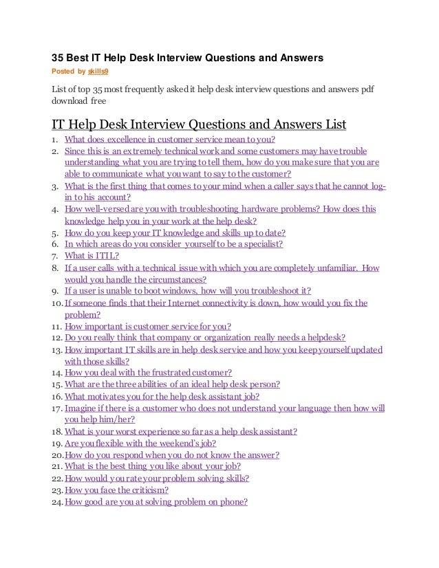 technical help desk interview questions pdf