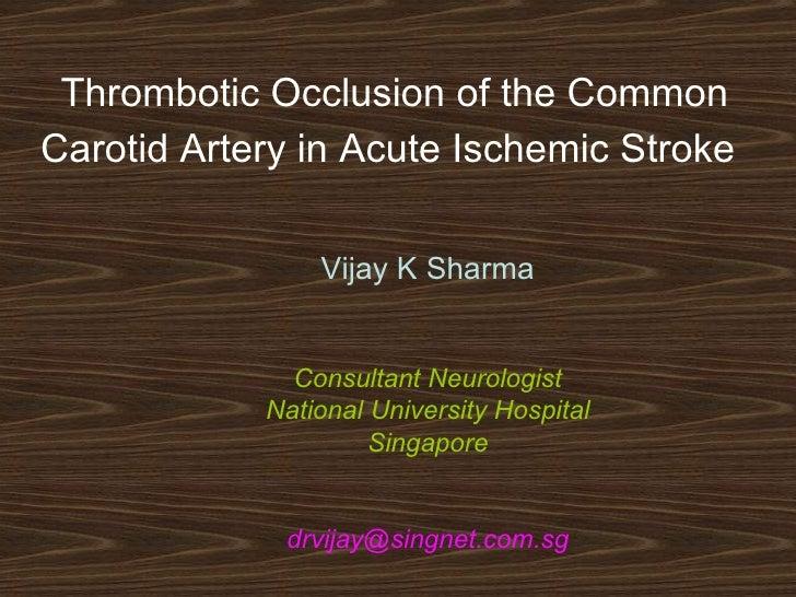 Thrombotic Occlusion of the Common Carotid Artery in Acute Ischemic Stroke   Vijay K Sharma Consultant Neurologist Nationa...