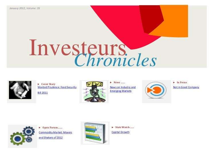 January 2012, Volume: 35                                  ISSUE                       VOLUME               Investeurs     ...