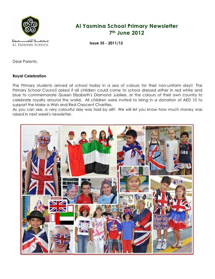 Al Yasmina School Primary Newsletter                                            7th June 2012                             ...