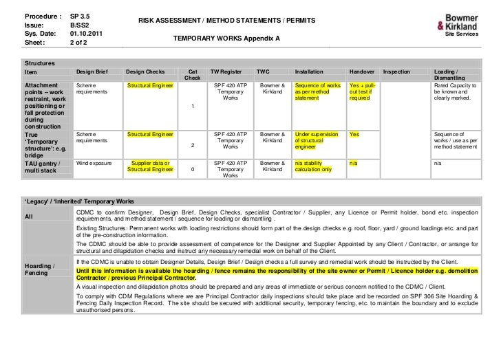 3 5 Temporary Works Appendix A