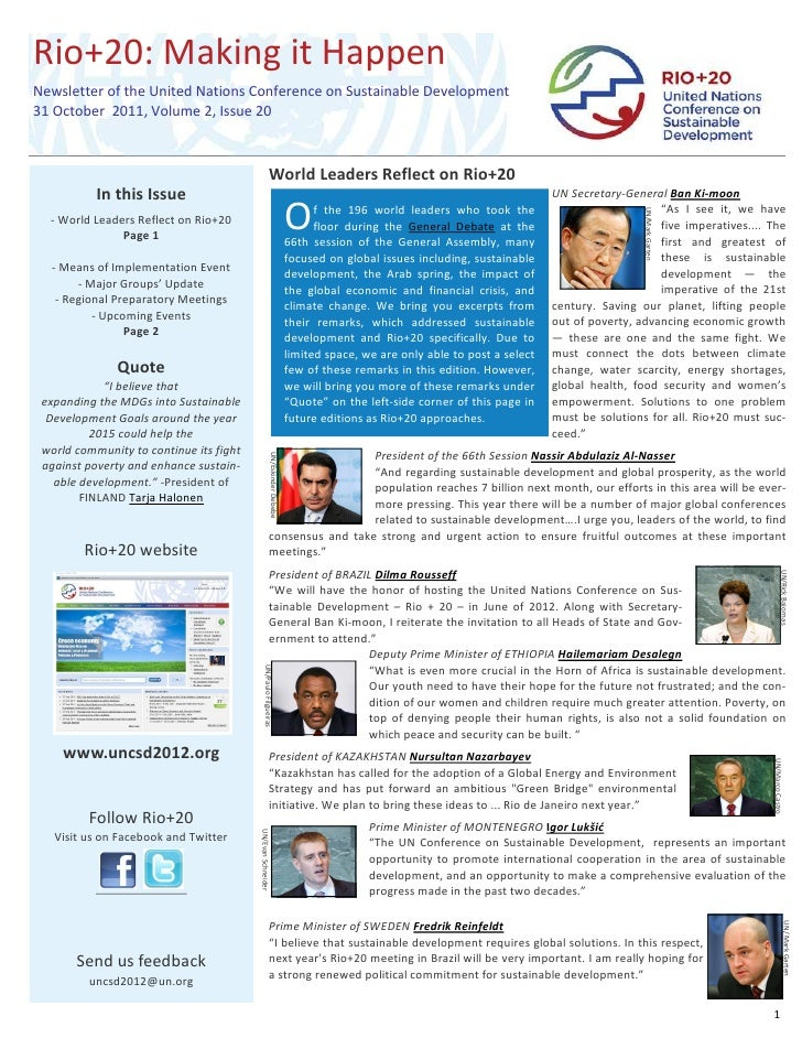 Rio+20: Making it HappenNewsletter of the United Nations Conference on Sustainable Development31 October 2011, Volume 2, I...