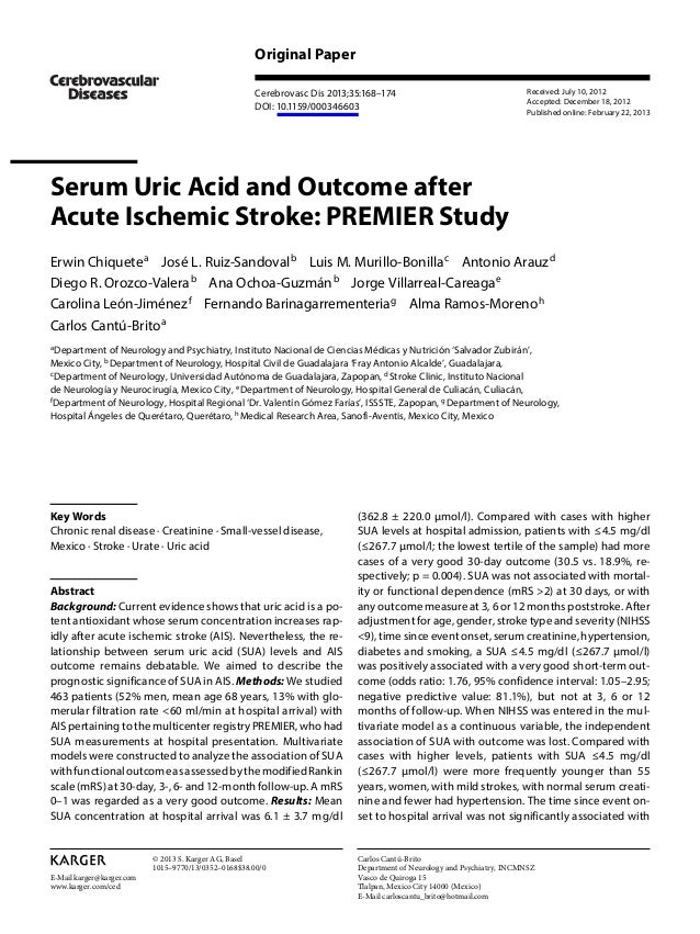 Serum Uric Acid and Outcome after Acute Ischemic Stroke: PREMIER Study