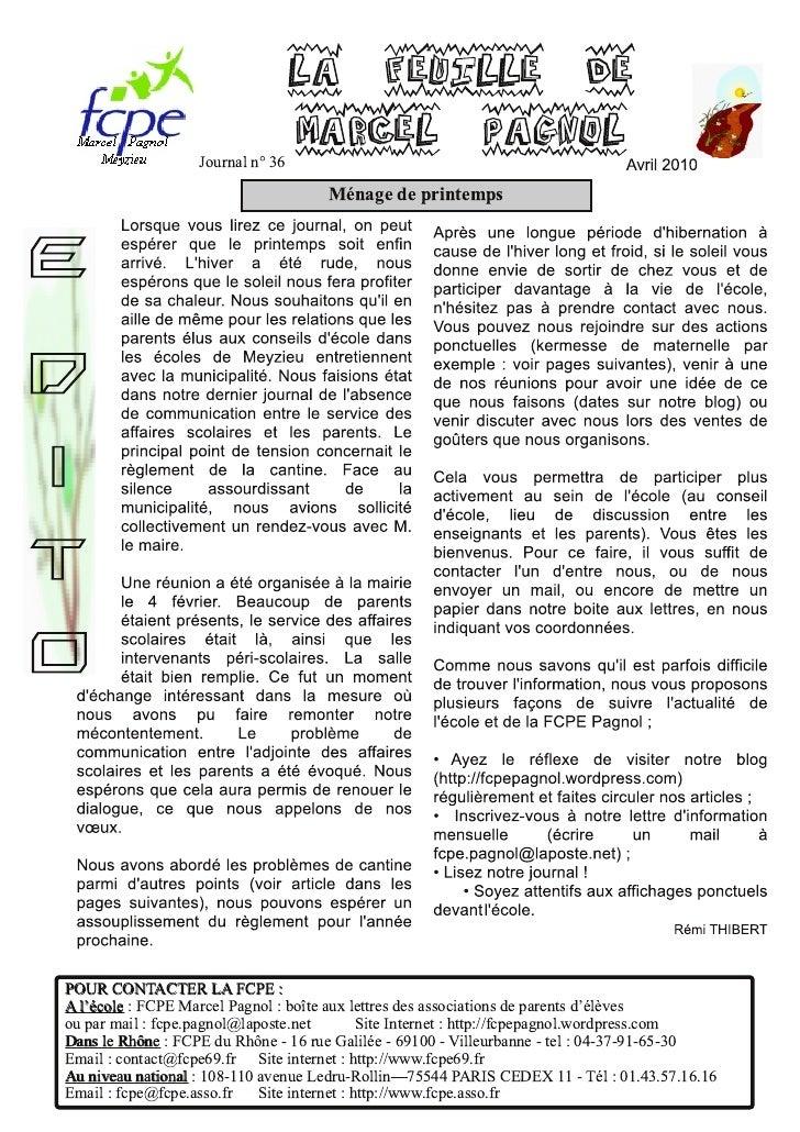 La feuille de                    Journal n° 36                                  Marcel Pagnol                             ...
