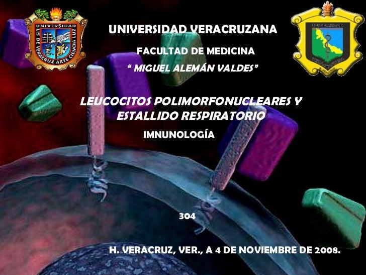 """Leucocitos polimorfonucleares y estallido respiratorio UNIVERSIDAD VERACRUZANA FACULTAD DE MEDICINA """"  MIGUEL ALEMÁN VALDE..."""