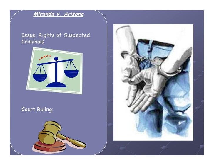 Miranda v. ArizonaIssue: Rights of SuspectedCriminalsCourt Ruling: