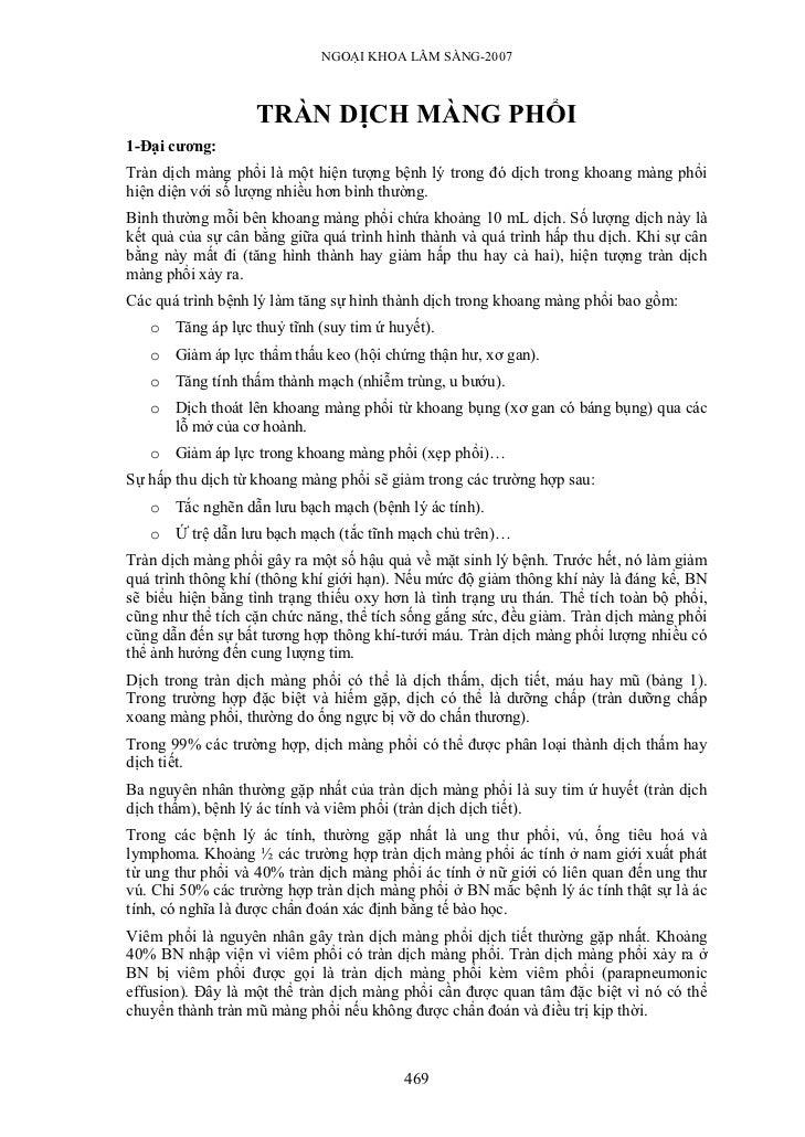 NGOẠI KHOA LÂM SÀNG-2007                   TRÀN DỊCH MÀNG PHỔI1-Đại cương:Tràn dịch màng phổi là một hiện tượng bệnh lý tr...
